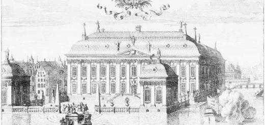 Plan för riddarhuset från sjösidan på 1600-talet. Etsning av Johannes van den Aveelen.