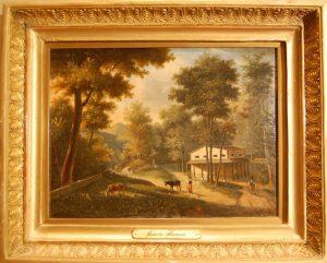 """Jeanette Åkerman, """"Hus i skog"""", 1800-talets första hälft."""