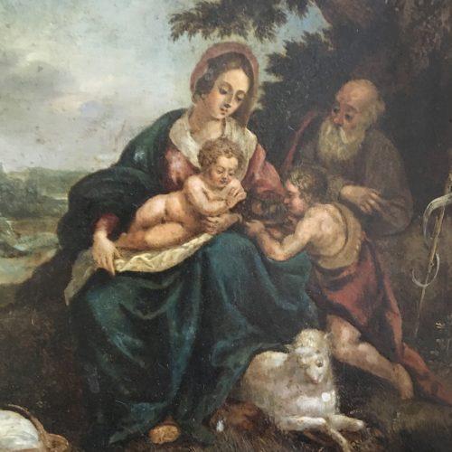 Antik oljemålning, Den heliga familjen, 1700/1800-tal