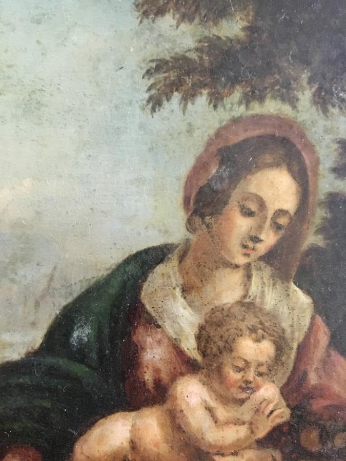 Detalj av den antika målningen, Den heliga familjen med Johannes Döparen.