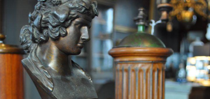 Skrivbordsuppsats, 1800-tal, Antinous, brons och marmor.