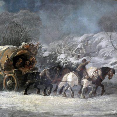 Antik målning av Alexis DeLeeuw, 1874, Belgien.