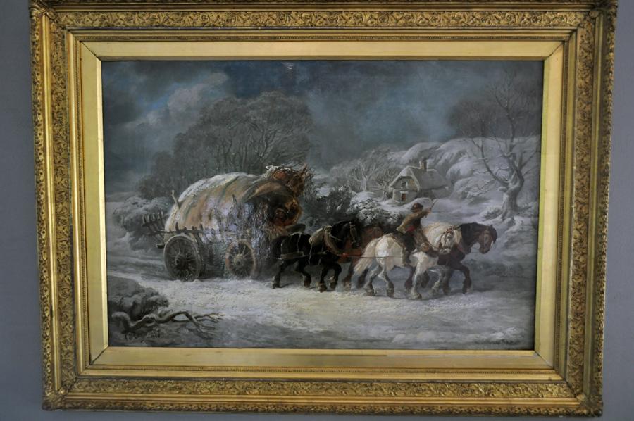 Antik målning, vinterlandskap, med ram av Alexis DeLeeuw, 1874, Belgien.