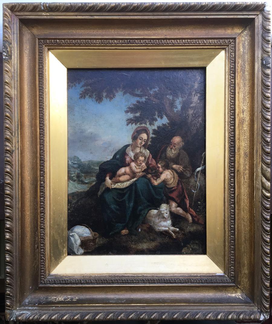 Målningen, Den heliga familjen med Johannes Döparen, i ram.