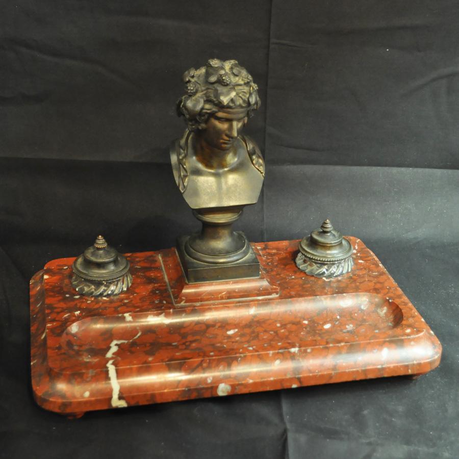 Skrivbordsuppsats, Antinous, brons och marmor, 1800-tal.