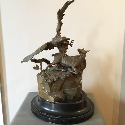 Skulptur, 1800-tal, rådjur och örn.