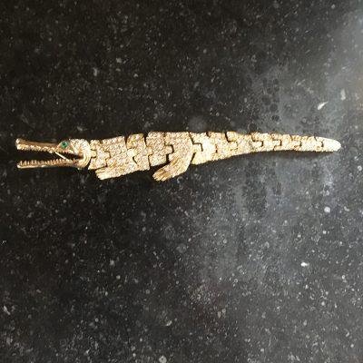 Brosch i form av krokodil, strass, 1980-tal
