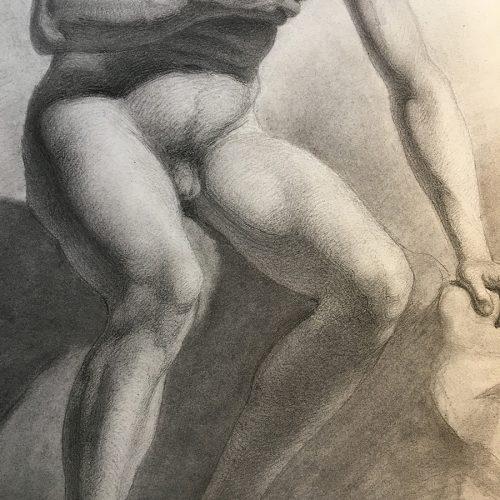 Detaljbild, akademisk teckning från 1800-talets mitt.