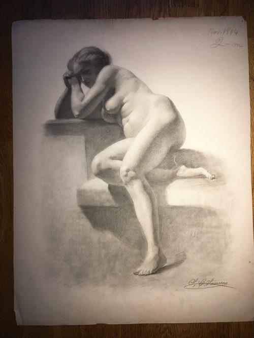 Akademisk studie, sittande kvinna, 1800-tal