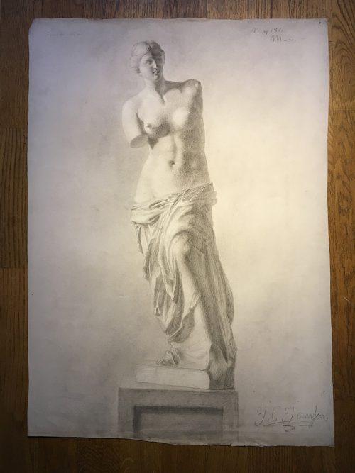 Akademistudie, naken dam, 1800-tal
