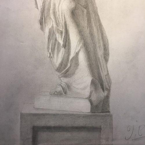 Kvinnokropp, teckning, 1800-tal