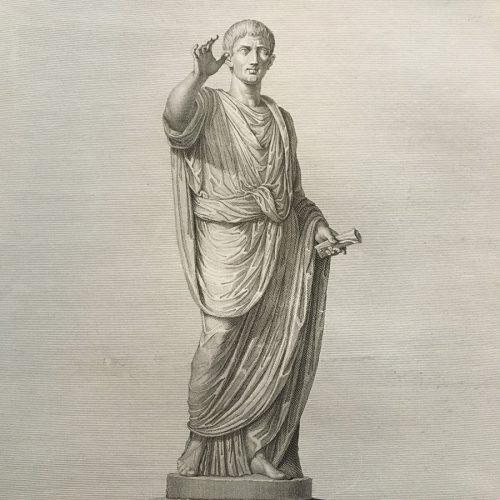 Kopparstick av romersk man.