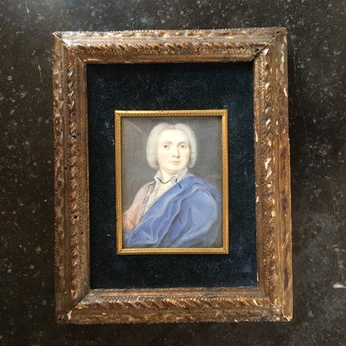 Miniatyrmålning, gentleman med blå mantel